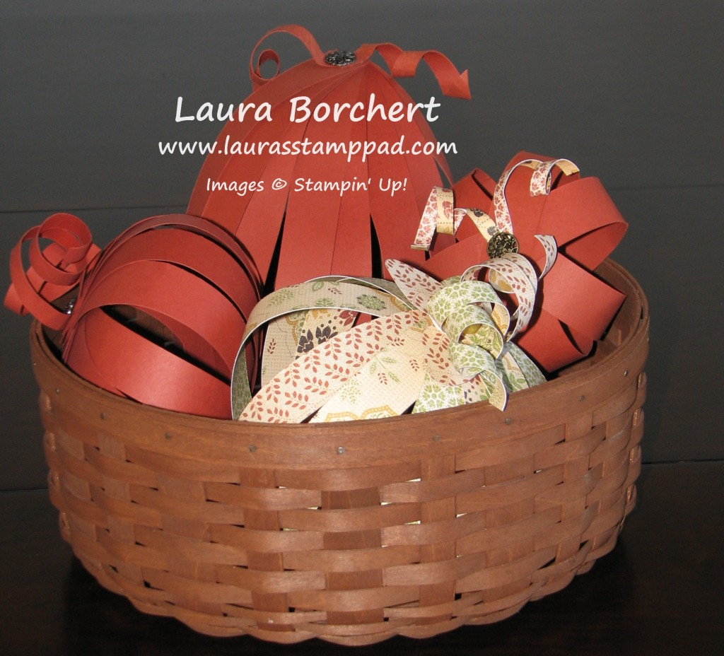 Basket of Pumpkins, www.LaurasStampPad.com