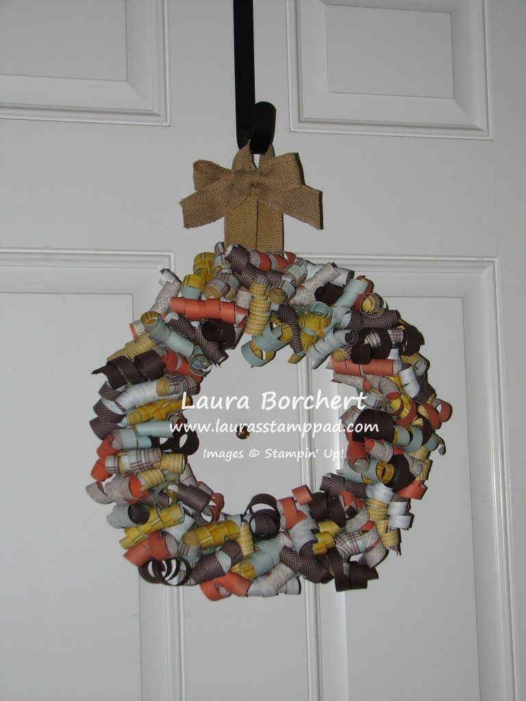 Curly Paper Wreath, www.LaurasStampPad.com