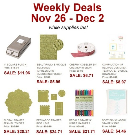 Weekly Deals 11.26.13, www.LaurasStampPad.com