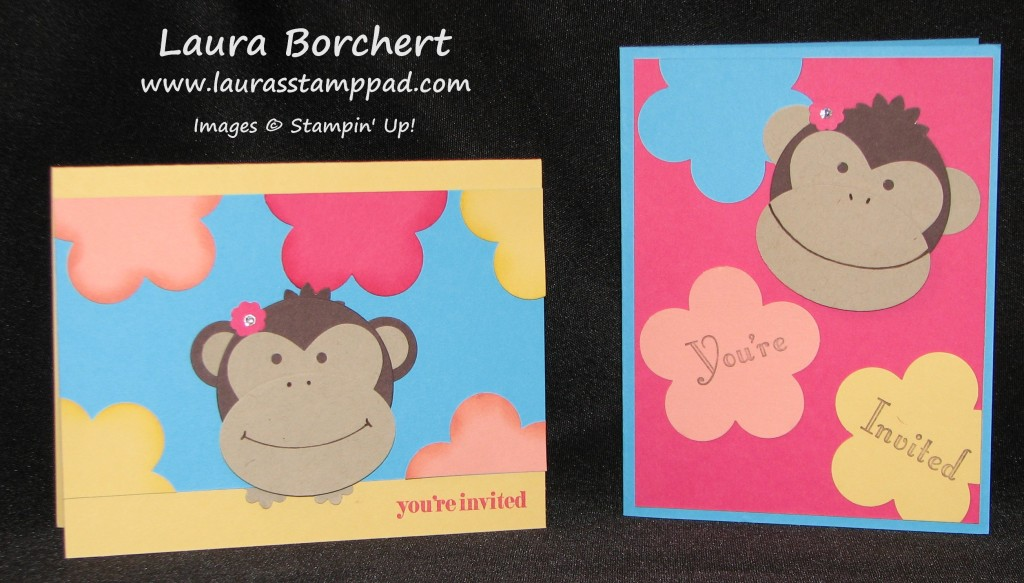 Monkey Invitations, www.LaurasStampPad.com