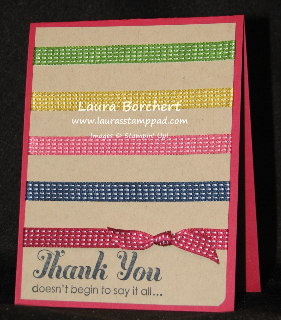 Ribbon Card, www.LaurasStampPad.com