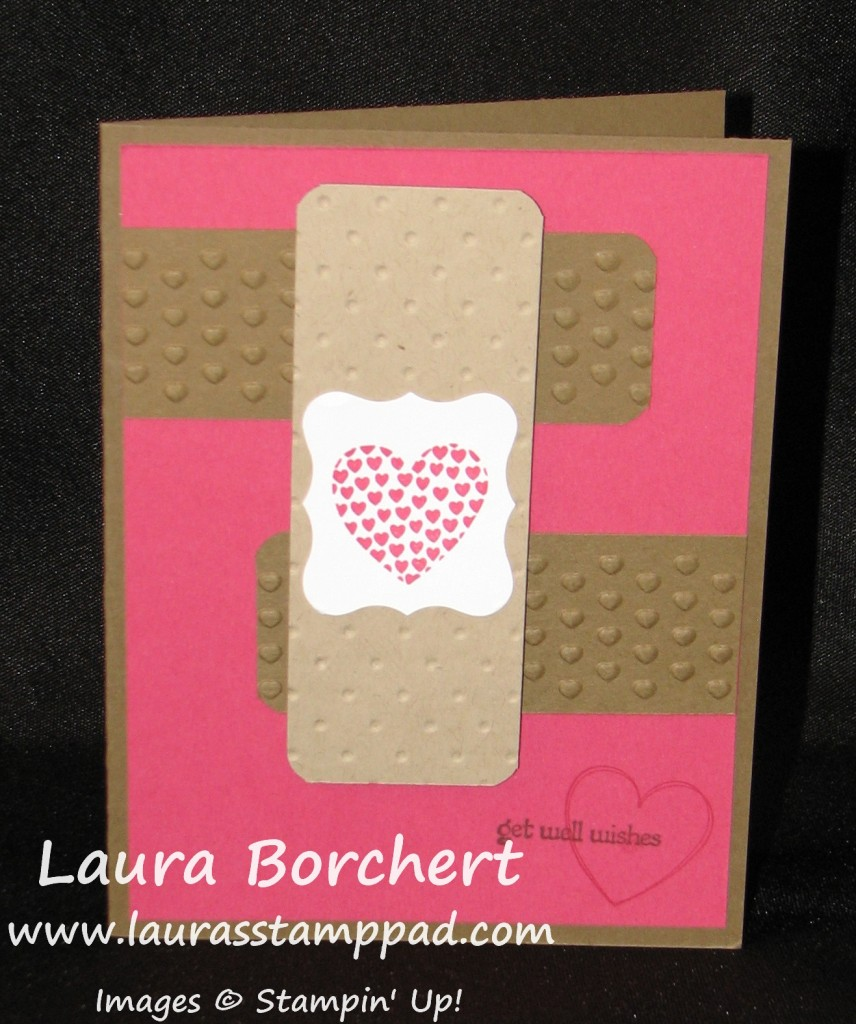 Bandaid Card with Embossing, www.LaurasStampPad.com