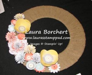 Burlap Wreath, www.LaurasStampPad.com