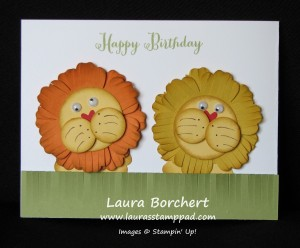 Lion made with Fringe Scissors, www.LaurasStampPad.com