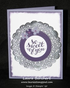 Hello There Silver Doily, www.LaurasStampPad.com