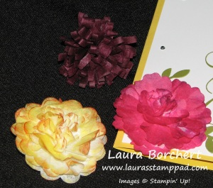 Creped Filter Paper Flowers, www.LaurasStampPad.com