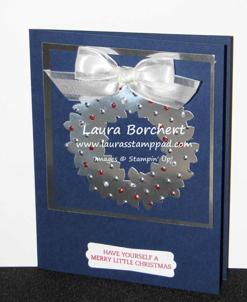 Silver Foil Wreath, www.LaurasStampPad.com