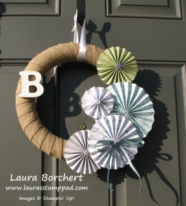 Winter Wreath Rosette, www.LaurasStampPad.com