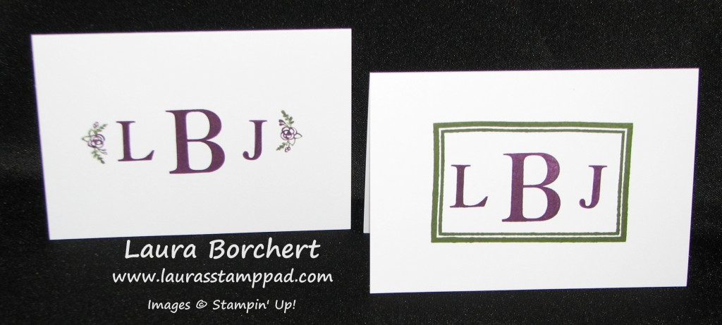 Sophisticated Serifs Monogram Note Cards, www.LaurasStampPad.com