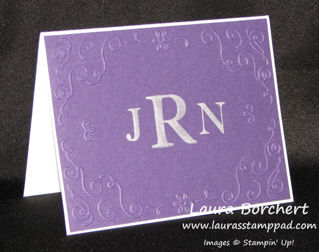 Monogramed Thank You Notes, www.LaurasStampPad.com