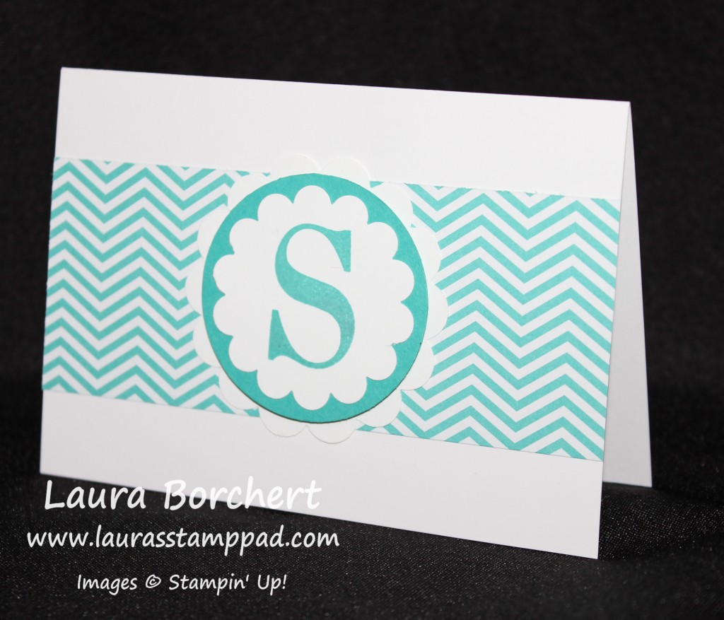 Monogram Scallop Circle, www.LaurasStampPad.com