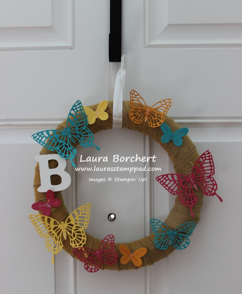 Butterfly Wreath Home Decor, www.LaurasStampPad.com