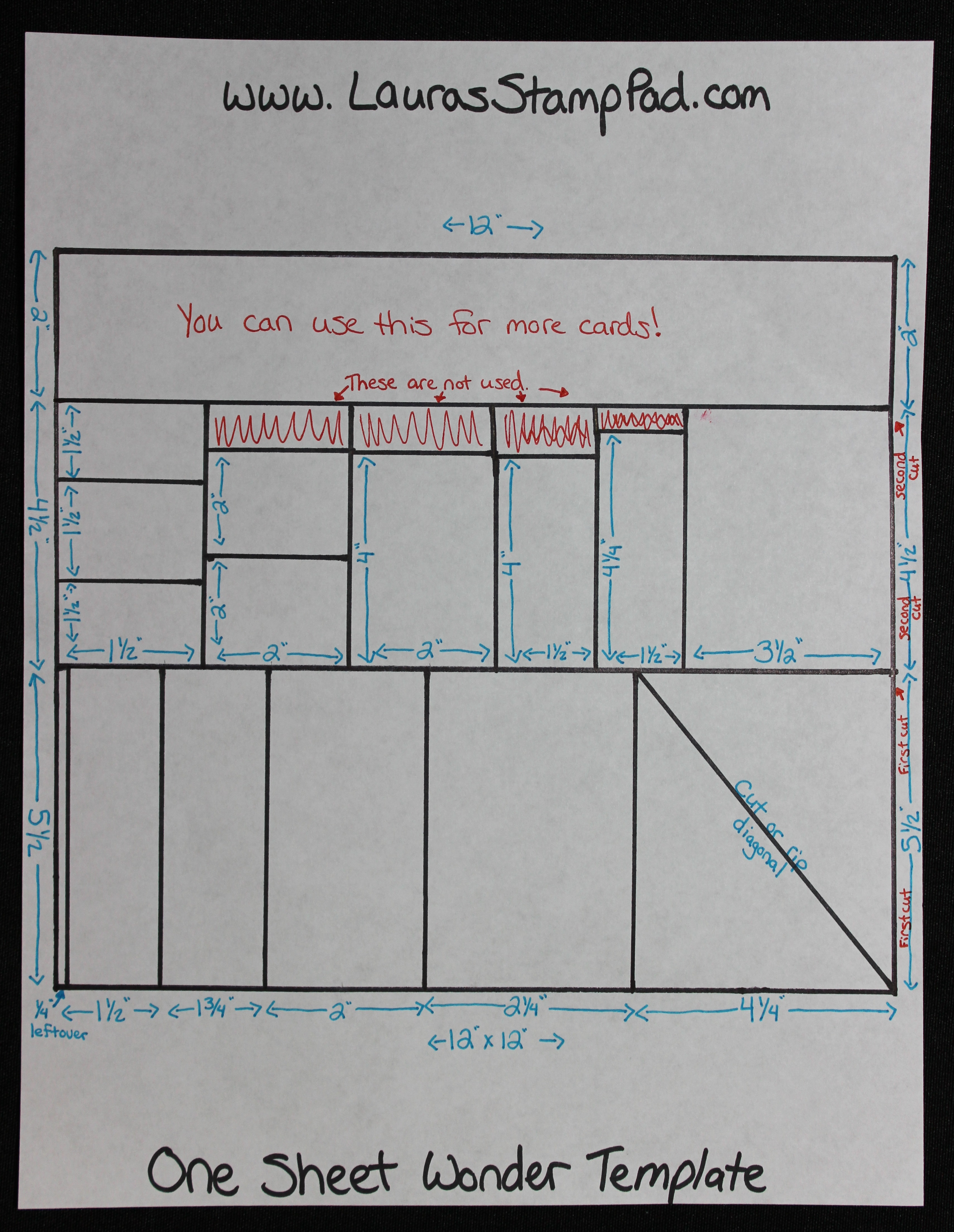 One Sheet Wonder Template 12x12, www.LaurasStampPad.com