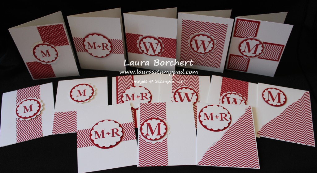 Monogram Card Set, www.LaurasStampPad.com