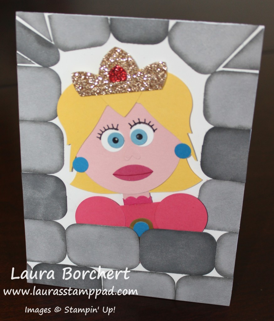 Princess Peach in a castle, www.LaurasStampPad.com