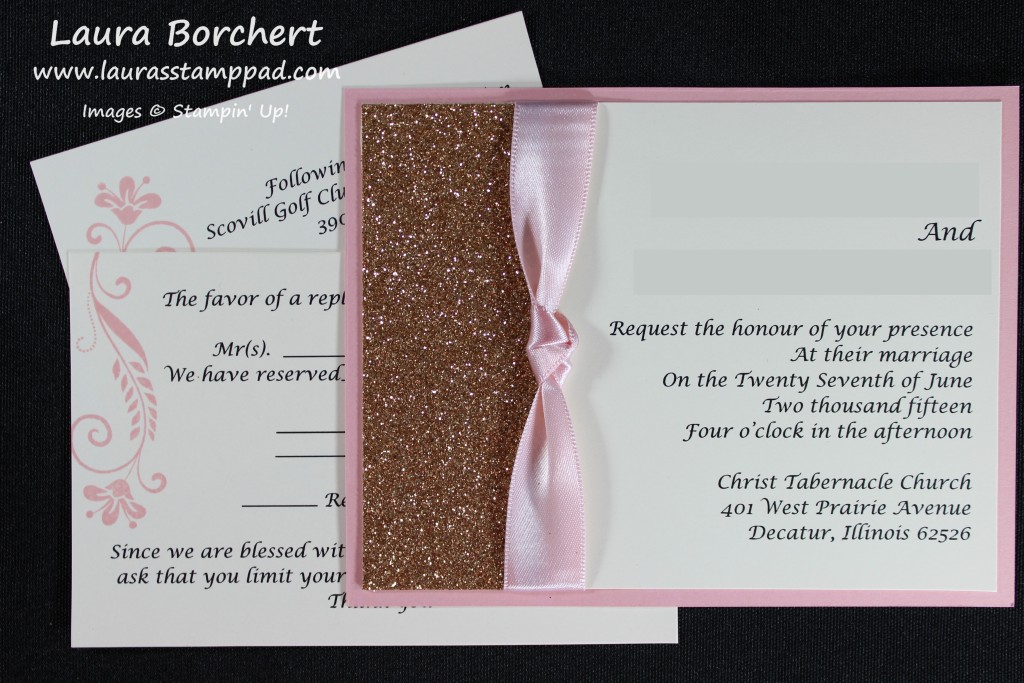 Pink & Gold Wedding Invitations, www.LaurasStampPad.com