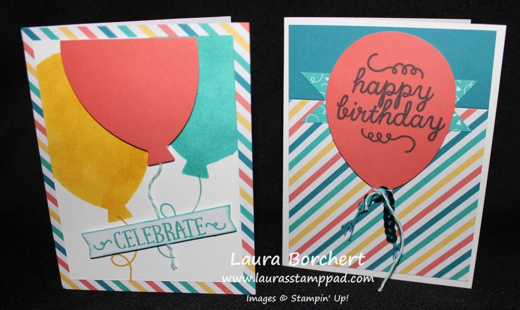 Balloon Cards May Paper Pumpkin, www.LaurasStampPad.com