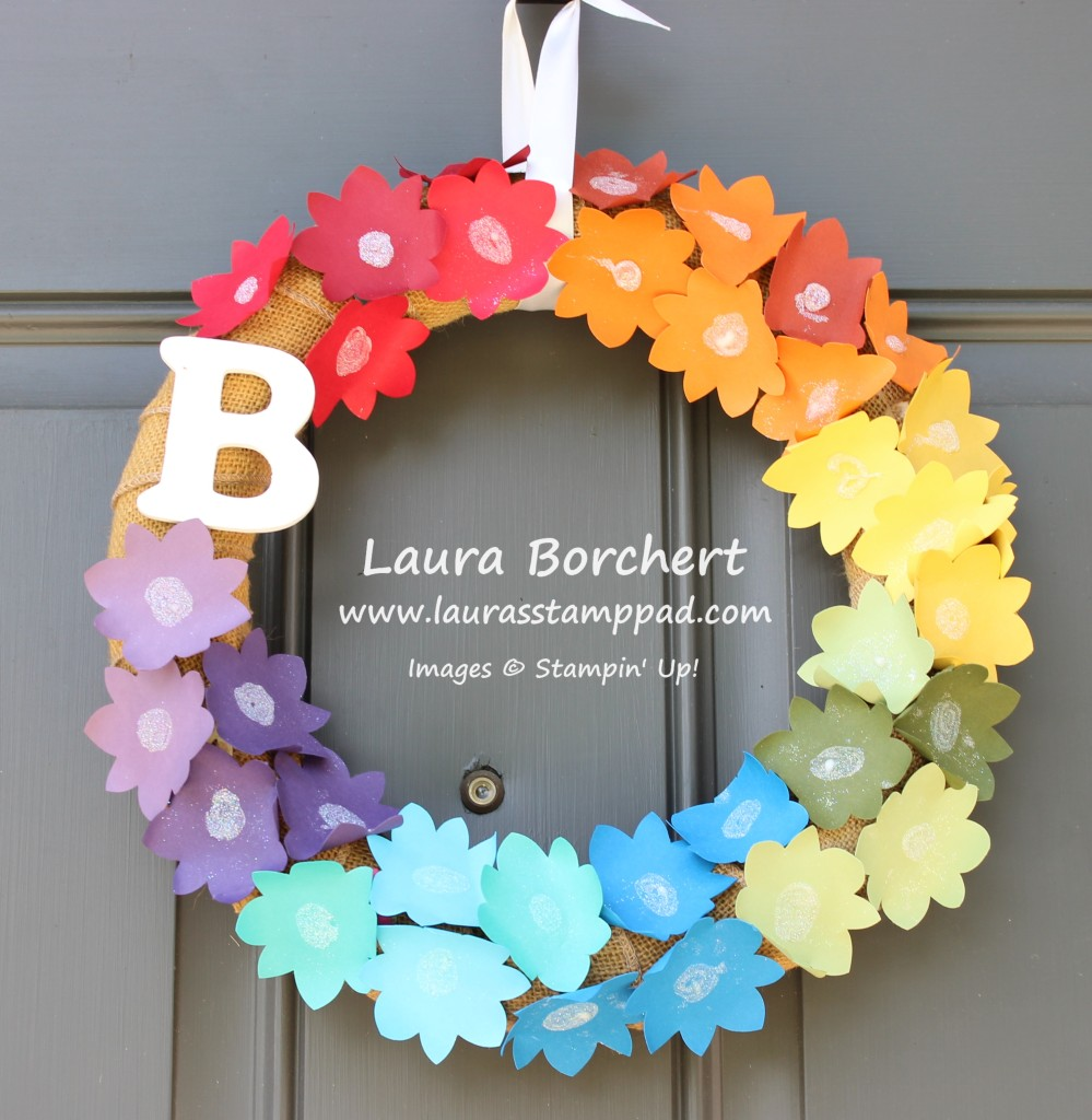 Rainbow Flower Wreath, www.LaurasStampPad.com