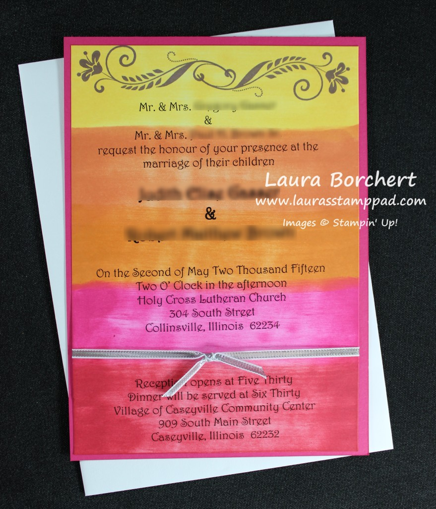 SunSet wedding invite, www.LaurasStampPad.com