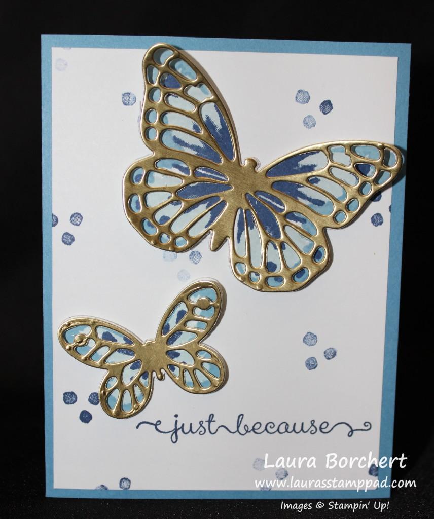 Blue Butterfly, Gold Foil, www.LaurasStampPad.com