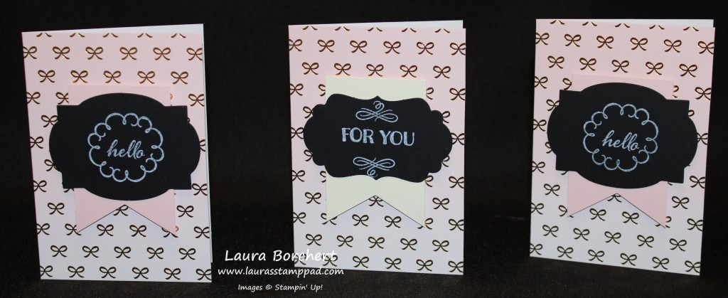 Pink with Gold Foil Ribbons, www.LaurasStampPad.com