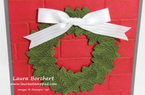 Up Close Wreath on Brick, www.LaurasStampPad.com