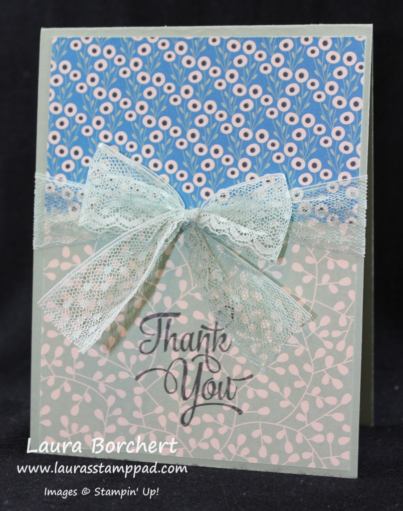 Lace - Thank You, www.LaurasStampPad.com