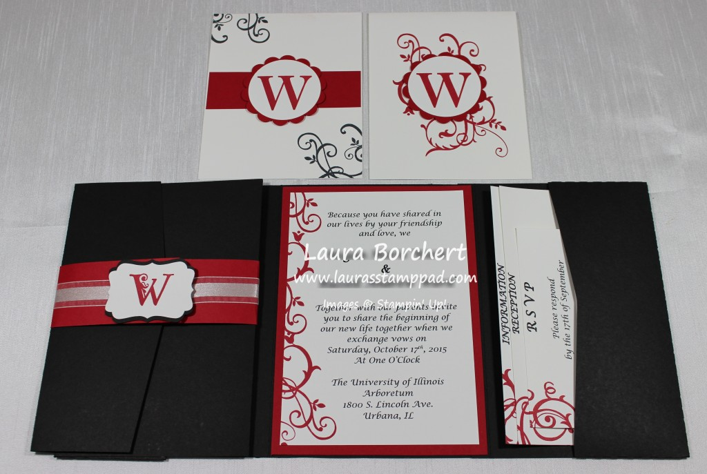 Black, Red, and White Wedding Invite, www.LaurasStampPad.com