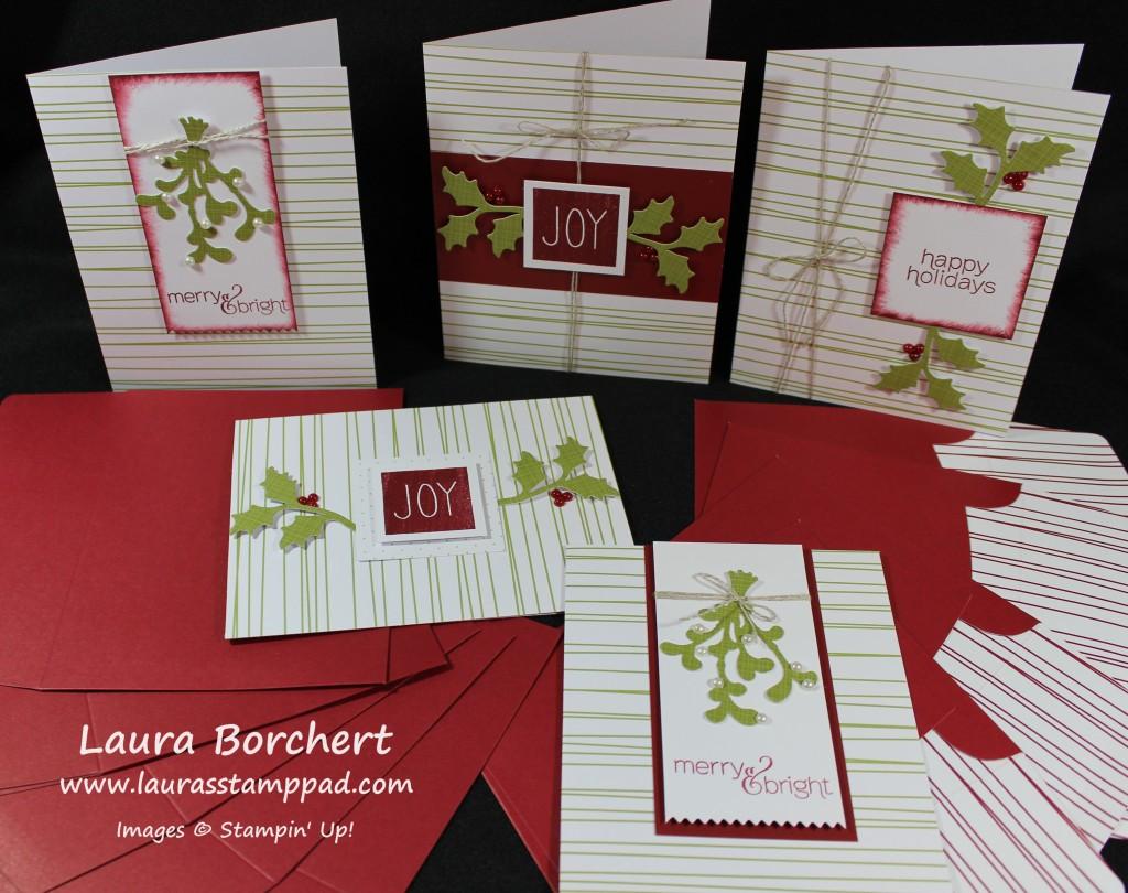 Green Stripes Greeting Cards, www.LaurasStampPad.com