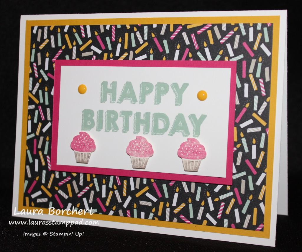 Birthday Cupcakes, www.LaurasStampPad.com