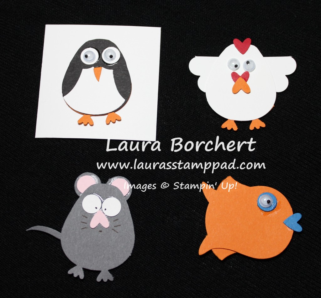 Penguin, Chicken, Mouse, and Fish, www.LaurasStampPad.com