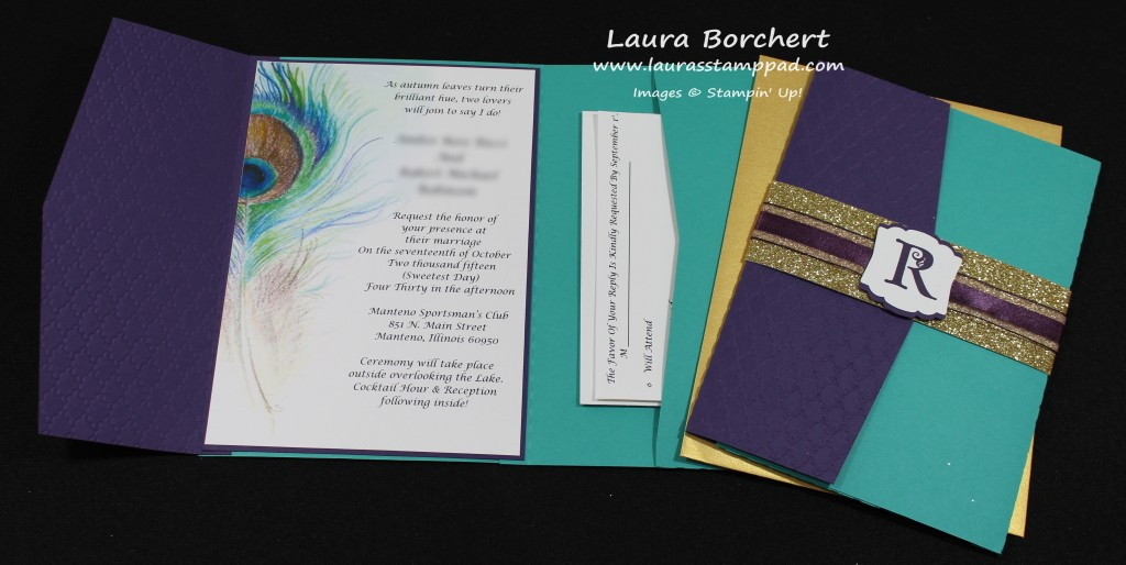 Peacock Wedding Invitation, www.LaurasStampPad.com