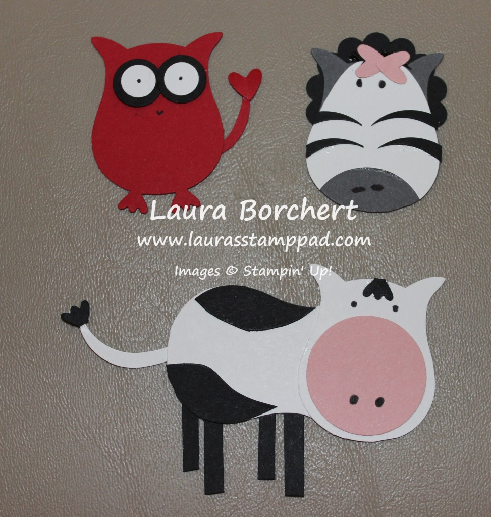Owl Punch Art - Zebra, Devil, Cow, www.LaurasStampPad.com