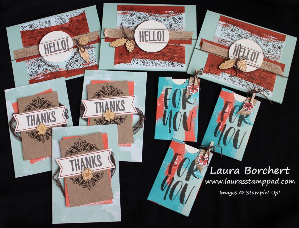 August Paper Pumpkin Cards, www.laurasstamppad.com