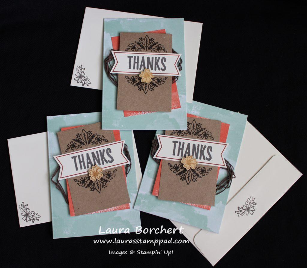 Thanks Flower Cards, www.LaurasStampPad.com