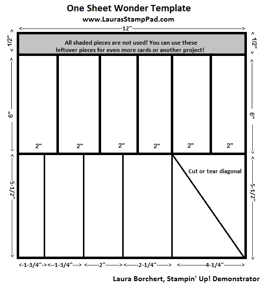 One Sheet Wonder Template, www.LaurasStampPad.com