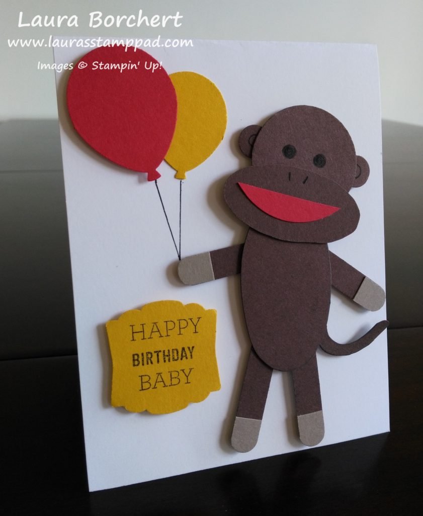 Sock Monkey Birthday Card, www.LaurasStampPad.com