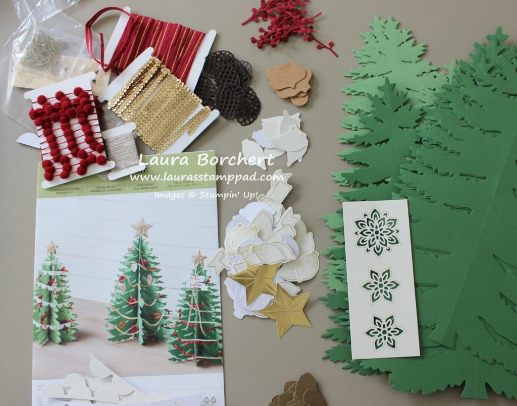 Forever Evergreen Supplies, www.LaurasStampPad.com