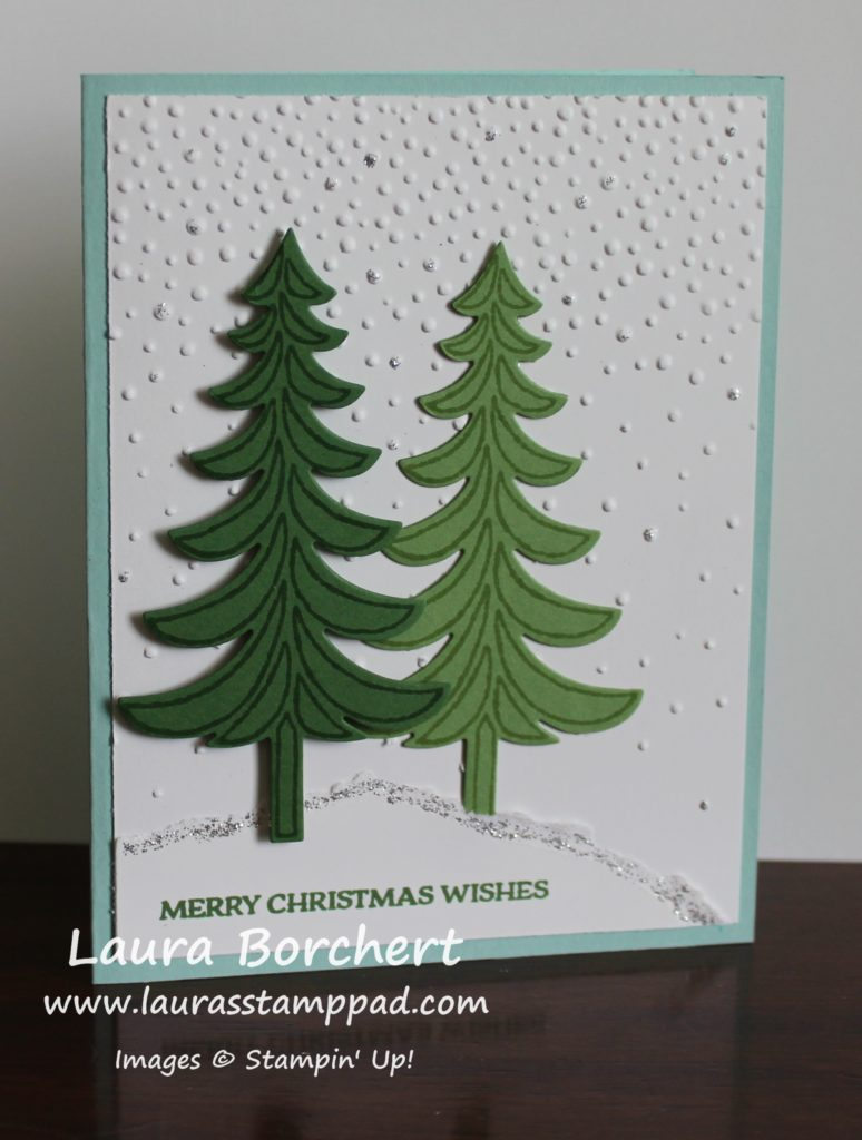 Evergreen Trees in Snow, www.LaurasStampPad.com