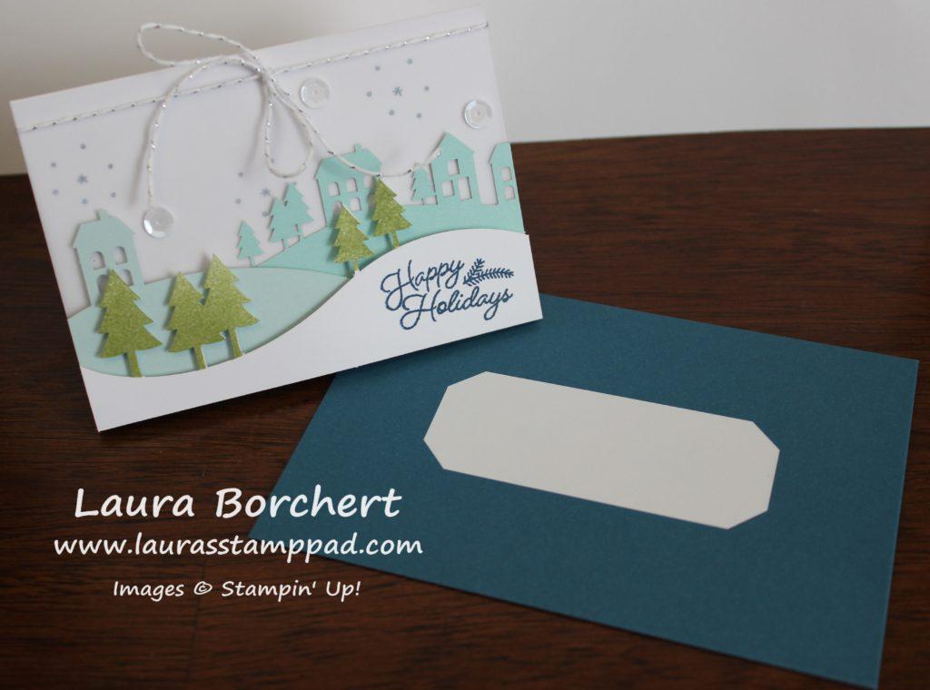 snowy-town-card-envelope, www.LaurasStampPad.com