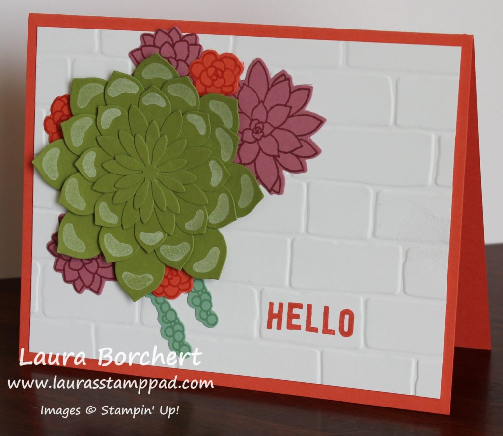 Succulents Growing on a Brick Wall, www.LaurasStampPad.com