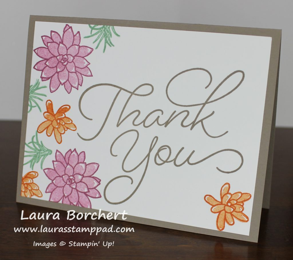2-Step Stamped Succulent Flowers, www.LaurasStampPad.com