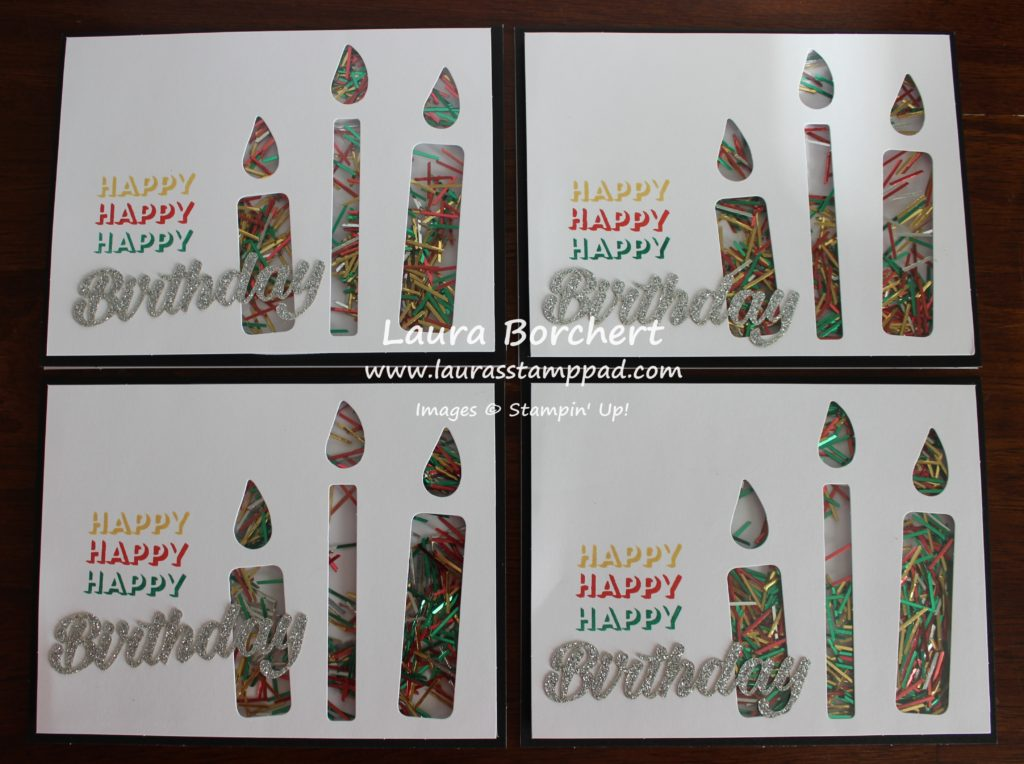 Confetti Candle Cards, www.LaurasStampPad.com