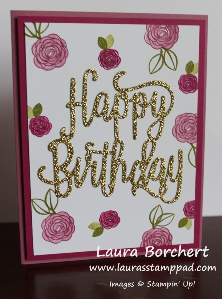 Golden Happy Birthday, www.LaurasStampPad.com