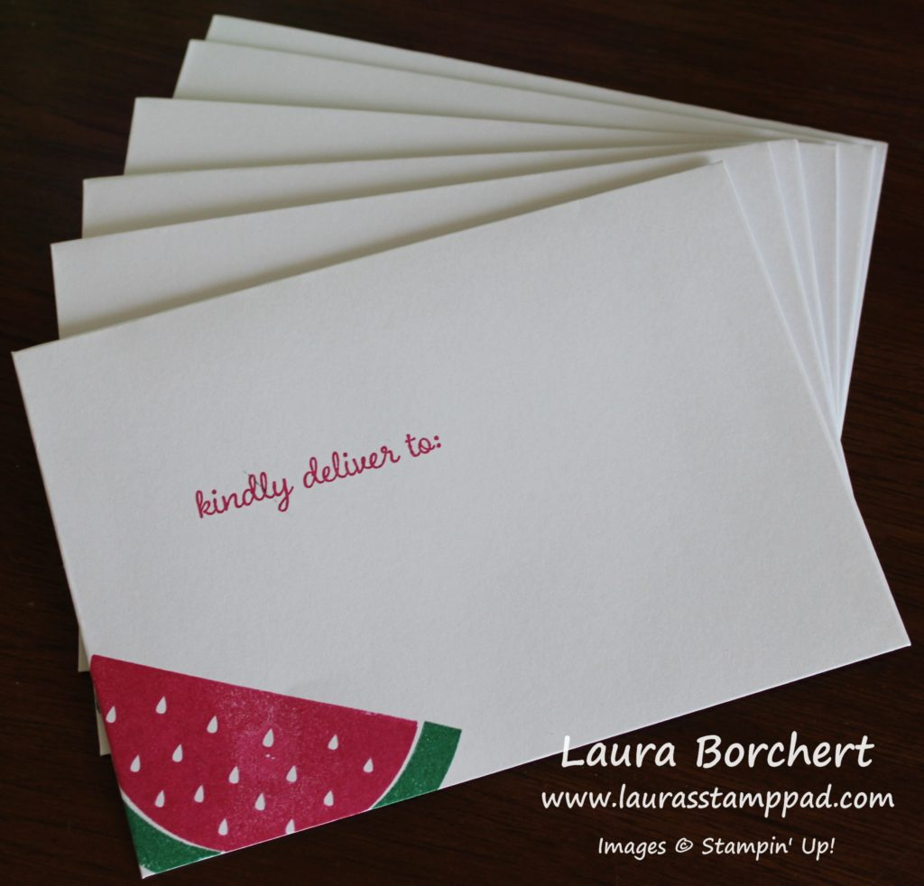 Watermelon Envelopes, www.LaurasStampPad.com