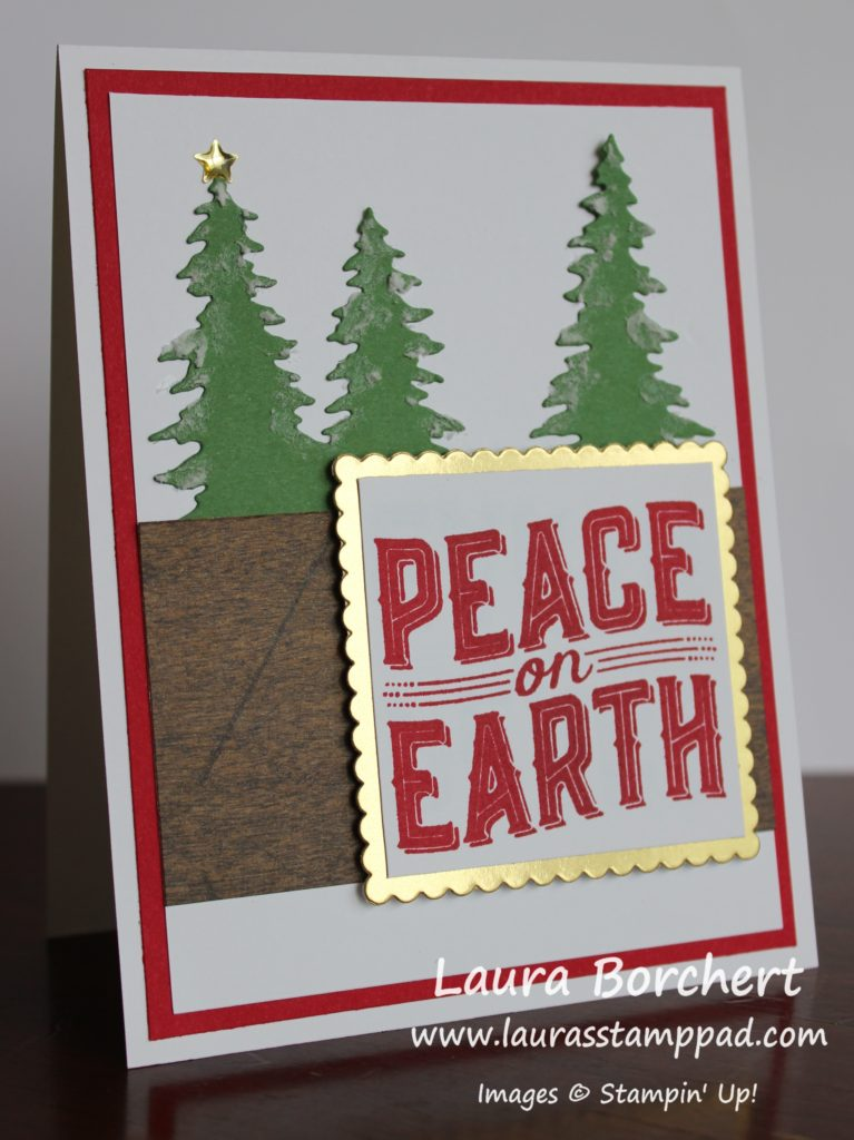 creating snowy evergreen trees, www.LaurasStampPad.com