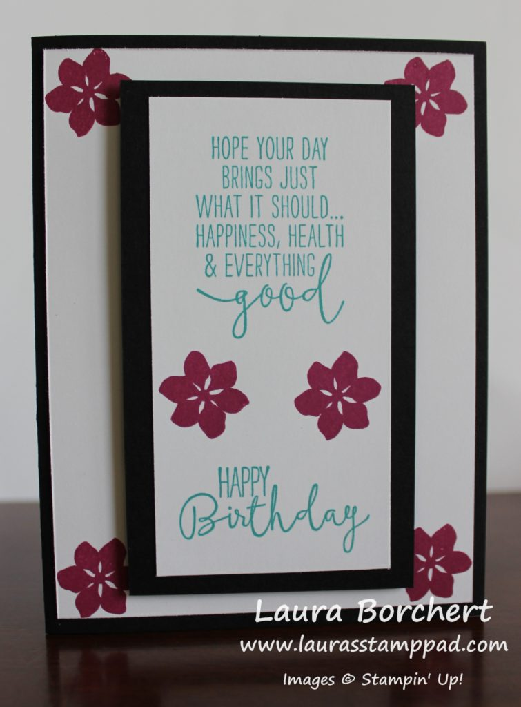 Black & White Floral Birthday, www.LaurasStampPad.com