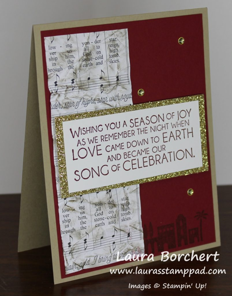 Distressing the Merry Music Designer Paper, www.LaurasStampPad.com