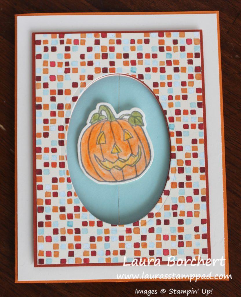 Pumpkin Spinner Card, www.LaurasStampPad.com