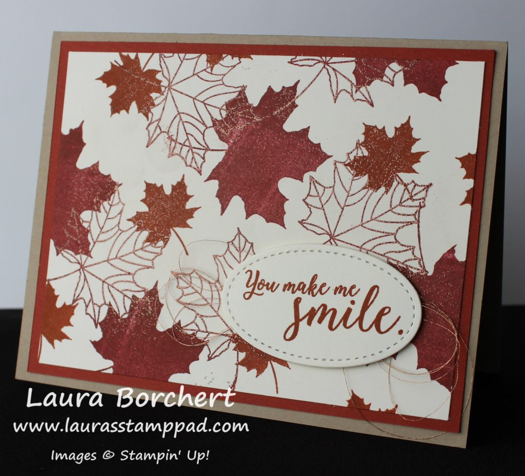 Copper Leaves Without Using VersaMark, www.LaurasStampPad.com